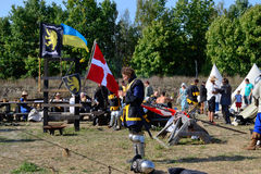 Camp soldiers. preparation. International Championship on the historical medieval battle Call of heroes. It passes near Kiev, in the village of Kopachev, Ukraine Royalty Free Stock Photos