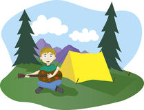 Camp Songs. Illustration of a boy playing guitar at his camp site Stock Photo