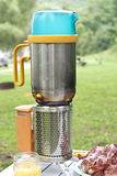 Camp Stove with Bacon Royalty Free Stock Photo
