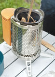 Camp Stove with wood strips Stock Image