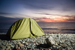 Camp at sunset Royalty Free Stock Image