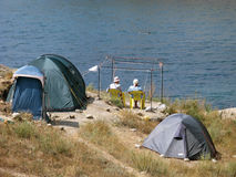 Camp sur la plage Photo stock