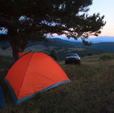 Camp with tent and car Stock Photos