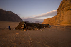 Camp tent in the desert. Camping tent in the desert in Jordan, Middle East royalty free stock photo