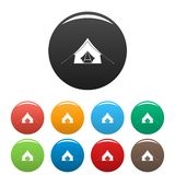 Camp tent icons set color. Camp tent icons set 9 color vector isolated on white for any design stock illustration