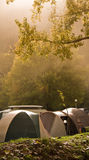 Camp tent in mist Royalty Free Stock Image