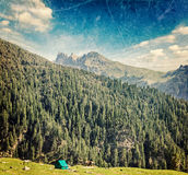 Camp tent in mountain Royalty Free Stock Photos