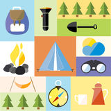 Camp Tent Set Icon Adventure Hike Forest Travel Stock Images