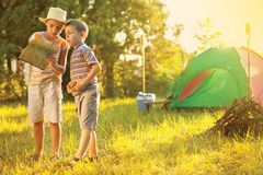 Camp in the tent - two brothers on the camping Royalty Free Stock Images
