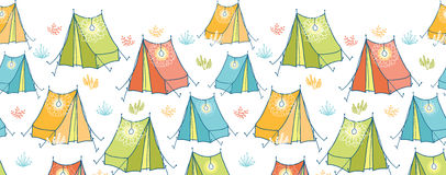 Camp tents horizontal seamless pattern background Stock Photos