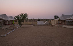 Camp in Thar desert in India. Tourist tents in Thar desert in Rajasthan, India Royalty Free Stock Image
