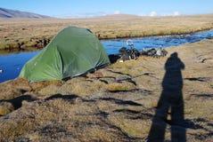 Camp  in Tibet. Camping  in Tibet above  5000  feet Stock Photos