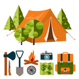 Camp. Tourist equipment in flat style Stock Image