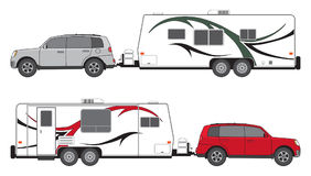 Camp trailer and SUV. SUV is towing a camp trailer in two different color schemes vector illustration