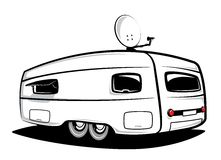 Camp trailer. Trailer for traveling with antennas on the roof stock illustration