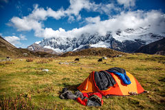 Camp under Mt MaKaLu in Tibet Royalty Free Stock Photography