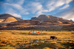 Camp under Mt MaKaLu in Tibet. Tents in base camp of Mt Makalu, the 5th highest Mt. in the world. Part of Himalaya mountain Royalty Free Stock Photography