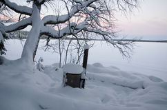 Camp under snow Royalty Free Stock Photography