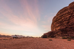Camp in Wadi Rum at sunrise Stock Photos