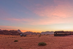 Camp in Wadi Rum at sunrise Royalty Free Stock Photos