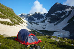 Camp wih tent  in the mountains Stock Images
