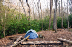 Camp in the Wilderness. Upper Flats wilderness campsite in the Great Smoky Mountains Stock Image