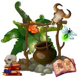 Camp witch or sorcerer with pot and ritual items Royalty Free Stock Photography