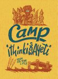 Camp Yeti. Woodcut-style sign with a bigfoot illustration Stock Images
