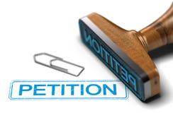 Campaña de la petición, concepto de la democracia sobre blanco Foto de archivo
