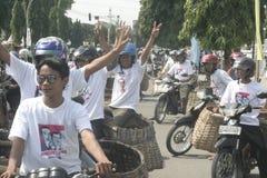 CAMPAÑA MÓVIL MERCANTIL PARA LA ELECCIÓN DE PRESIDENTE OF INDONESIA Imágenes de archivo libres de regalías