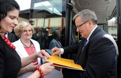 Campaña presidencial de Bronislaw Komorowski Foto de archivo libre de regalías