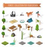 Campa beståndsdelar för isometrisk skog 3d Arkivbild