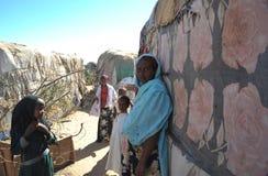 Campa för afrikanska flyktingar och flyktingar på utkanten av Hargeisa i Somaliland under FN-auspicier. Royaltyfri Bild