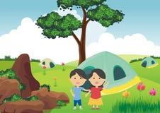 Campa för ungar stock illustrationer
