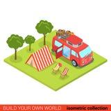 Campa för vardagsrum för tält för plan isometrisk skåpbil för hippie 3d utomhus- Royaltyfria Bilder