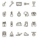Campa fotvandra den svarta tunna linjen symbolsuppsättning för tecken vektor royaltyfri illustrationer