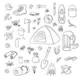Campa fotvandra symbolsupps?ttningen Campa utrustningvektorsamling Kikare bunke, grillfest, lykta, skor, ryggs?ck stock illustrationer