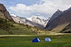 Campa i den Juuku dalen i Kirgizistan Royaltyfri Bild