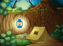 Campa i djungeln royaltyfri illustrationer