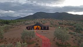Campa i Marocko berg Royaltyfria Foton