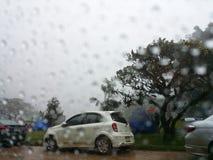 Campa i regnet Arkivbild