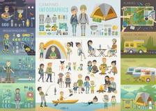 Campa Infographic uppsättning med folk och objekt Arkivbild
