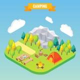 Campa isometriskt begrepp Vektorillustration i plan stil 3d Utomhus- lägeraktivitet Lopp i berg Royaltyfri Fotografi