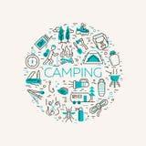 Campa och turismsymboler Royaltyfri Fotografi