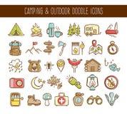 Campa och utomhus- affärsföretagklottersymboler Royaltyfria Foton