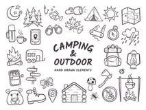 Campa och utomhus- drog beståndsdelar för affärsföretag hand Royaltyfri Fotografi