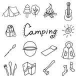 Campa och utomhus- vektorillustration, isolerade objekt stock illustrationer