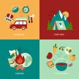 Campa plan symbolsuppsättning Royaltyfri Fotografi