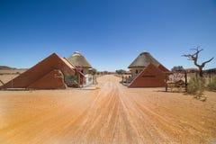 Campa Sesriem ingång, Namibia arkivfoton