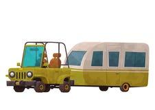 Campa släp med bilen som isoleras på vit bakgrund royaltyfri illustrationer